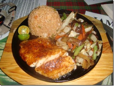 Sizzling fish steak